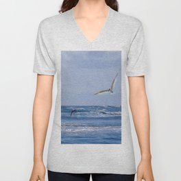 Terns diving into the sea Unisex V-Neck