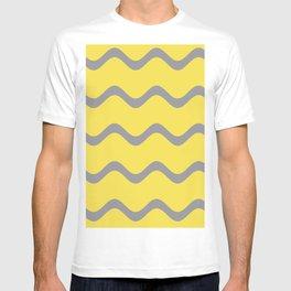 Soft Rippled Horizontal Line Pattern V2 Pantone 2021 Color Of The Year Illuminating Ultimate Gray T-shirt