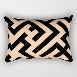 Black and Deep Peach Orange Diagonal Labyrinth Rectangular Pillow