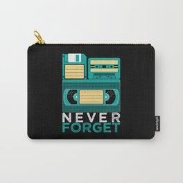 Never Forget   Retro VHS Cassette Tape Floppy Disk Carry-All Pouch