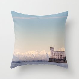 Miramar Castle with Italian Alps in background. Trieste Italy Throw Pillow