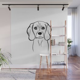 Beagle (Black and White) Wall Mural