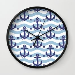 Sailor Stripes and Anchor Pattern Light Blue 10 Wall Clock