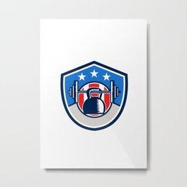 Kettlebell Hanging Barbell USA Flag Crest Retro Metal Print