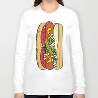 hot dog Long Sleeve T-shirts featuring HOT DOG by RUMOKO x Vintage Cheddar