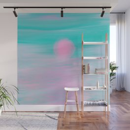 Abstract lavender teal pink watercolor sunset Wall Mural
