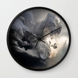 Fist of Fury - Storm Packs a Punch Over Oklahoma Plains Wall Clock