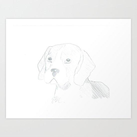 LINE ART BEAGLE Art Print