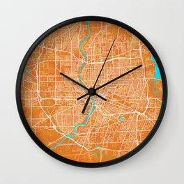 Rochester, NY, USA, Gold, Blue, City, Map Wall Clock