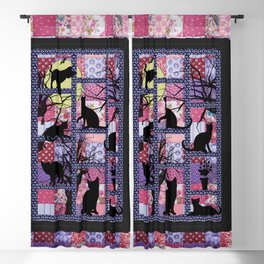 Night Cats on Patchwork Blackout Curtain