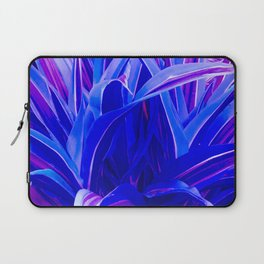 Exotic, Lush Fantasy Blue and Neon Pink Leaves Laptop Sleeve