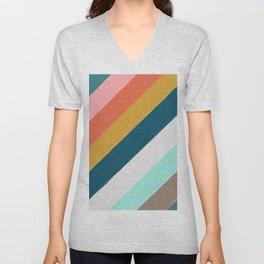 Diagonal Color Blocking – Mediterranean Palette Unisex V-Neck