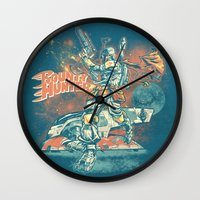 stickers Wall Clocks featuring BOUNTY HUNTER by BeastWreck