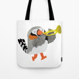 Zebra Finch playing a trumpet Tote Bag