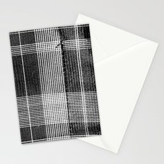 Stitched Plaid in Black and White Stationery Cards