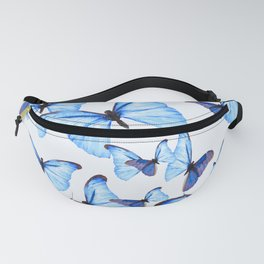 Butterflies Blue Wings White Background #decor #society6 #buyart Fanny Pack