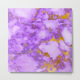 purple golden marble Metal Print