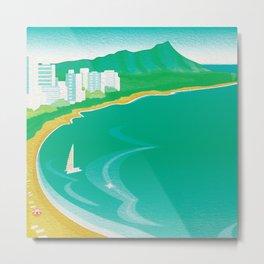Waikiki Beach Diamond Head Watercolor in Kitschy Mid Century Style Metal Print