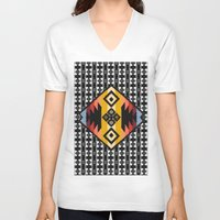 boho V-neck T-shirts featuring Boho Mapuche by Julie Couto