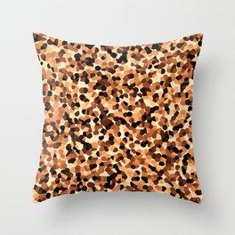 Brown Mosaic Pattern Abstract Throw Pillow
