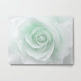 White Rose Minimalism | Mint Metal Print