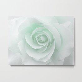 White Rose Minimalism | Mint Metal Print