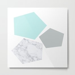 Geo marble and turquoise Metal Print