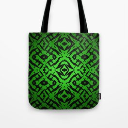 Green tribal shapes pattern Tote Bag