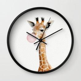 Bubble Gum Baby Giraffe Wall Clock