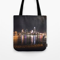 cincinnati Tote Bags featuring Cincinnati Glow by Stacey Cat
