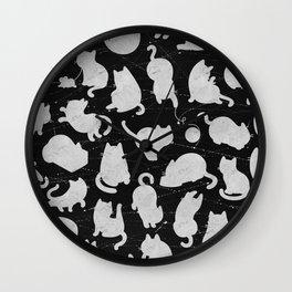 Silver Cats on Black Kitty Pattern Wall Clock