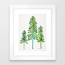 Pine Trees – Green Palette Framed Art Print