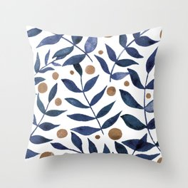 Watercolor berries and branches - indigo and beige Throw Pillow
