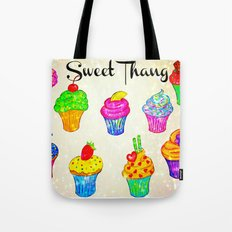 SWEET THANG - Cupcakes Sweet Sugary Goodness, Yummy Treat Romantic Colorful Bakery Illustration Tote Bag