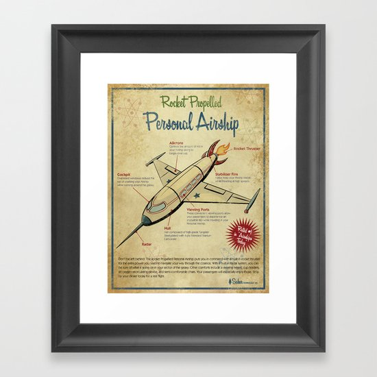 Retro Futuristic, Steampunk Airship Framed Art Print