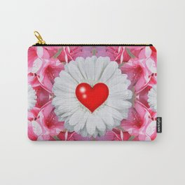 Red Hearts & White Floral Art Carry-All Pouch