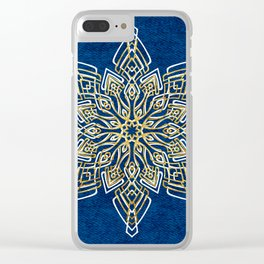 Blue, White, & Gold Snowflake Clear iPhone Case