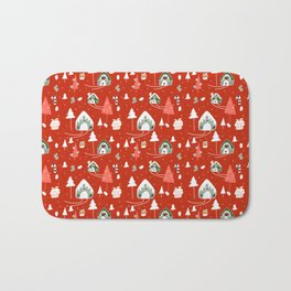 gingerbread house red #Christmas #Holiday Bath Mat