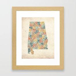 Alabama by County Framed Art Print