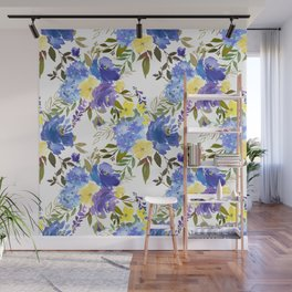 Violet yellow sky blue gold watercolor floral Wall Mural