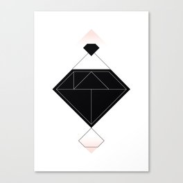 Tangram Diamond Linework Black Canvas Print