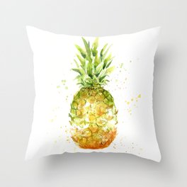 Pineapple Watercolor Abstract Fruit Painting Throw Pillow