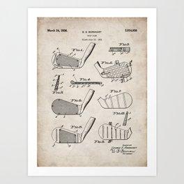 Golf Clubs Patent - Golfing Art - Antique Art Print
