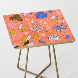 Orange Flower Pattern Side Table