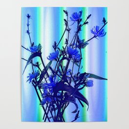 Blue Wildflowers With Backlight Poster