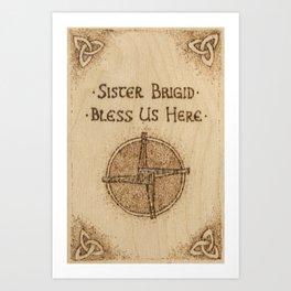 Brigid's Cross Blessing Woodburned Plaque Art Print
