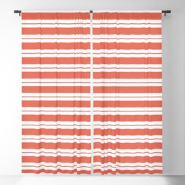 Pantone Living Coral Horizontal Line Patterns on White 1 Blackout Curtain