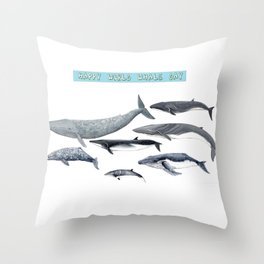 Happy world whale day Throw Pillow