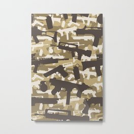 Military Camouflage Neck Gator Brown Camo Weapons Metal Print