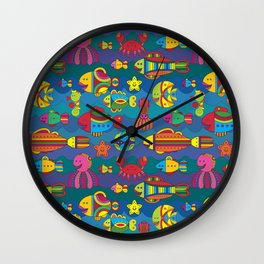 Stylize fantasy fishes under water Wall Clock